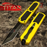 Taiwan Titan OTF D/A Yellow Automatic Knife Switchblade w/ Black Tanto Serrated - upgraded Dual Action out-the-front knives