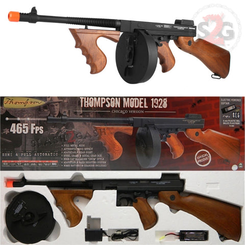 Thompson 1928 Chicago Typewriter Full Metal SMG Sub Machine Tommy Gun AEG Airsoft Rifle Slash2Gash S2G