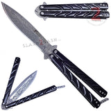 Twist Butterfly Knife Drop Point Balisong - Black Damascus M-Tech Darrel Ralph