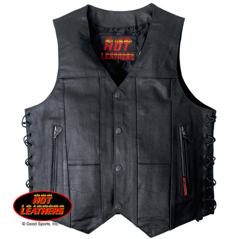 Hot Leathers Men's 10 Pocket Leather Vest w/ Side Laces