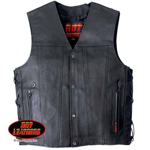 Hot Leathers Men's Concealed Carry Leather Vest w/ Solid Back