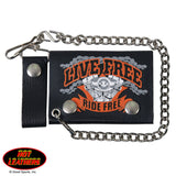Hot Leathers Live Free Leather Wallet w/ Chain American Made USA