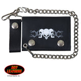 Hot Leathers Barbed Wire Skull Leather Wallet w/ Chain American Made USA