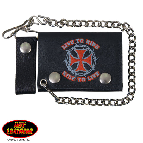 Hot Leathers Live to Ride Choppers Leather Wallet w/ Chain American Made USA
