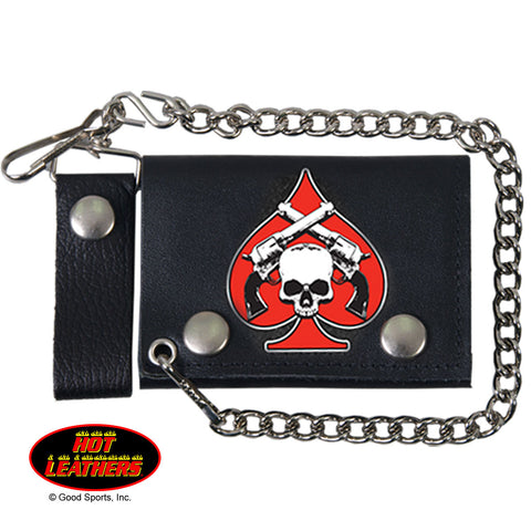 Hot Leathers Spade Skull and Pistols Leather Wallet w/ Chain American Made USA