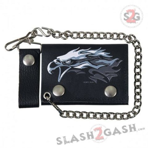 Hot Leathers Tribal Eagle Leather Wallet w/ Chain American Made USA