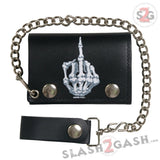 Hot Leathers Skeleton Finger Leather Wallet w/ Chain American Made USA