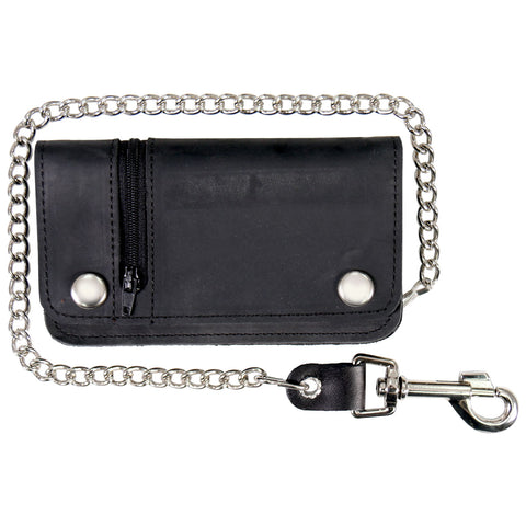 Hot Leathers Black Naked Leather Chain Wallet w/Zip Pocket American Made USA WLC3101