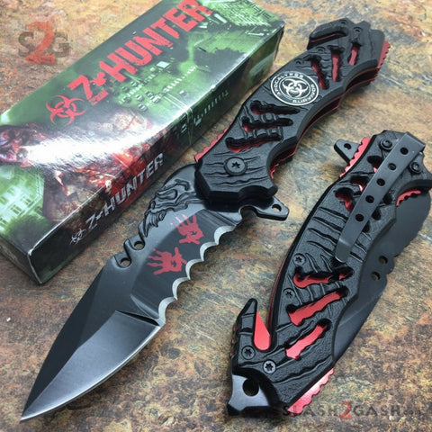 Zombie Bio Hazard Apocalypse Survivor Rescue Knife - Blood Red ZB160RD