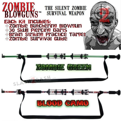 "Zombie Blowguns .40 cal LOADED w/ 30 Darts - Blood Red Camo, Zombie Green, 24"" 36"" 2PC 48"" 54 inch - Avenger USA"