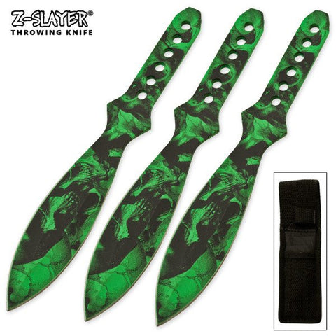 "6"" Throwing Knife Set 3 PC Killer Thrower Knives Zombie Green Skull Camo"