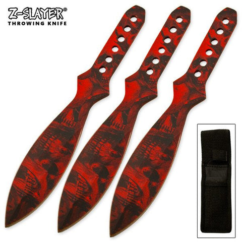 "6"" inch Throwing Knife Set 3 PC Killer Thrower Knives Zombie Red Skull Camo"