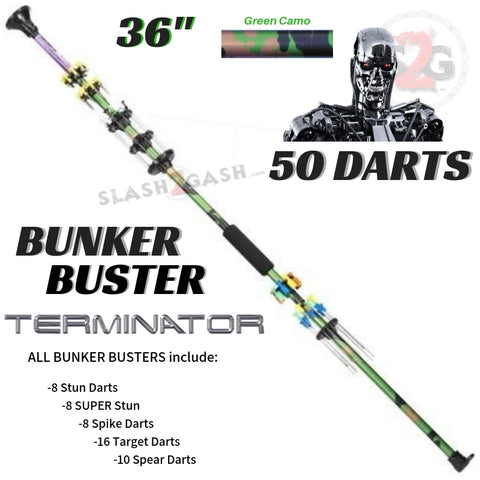 "Terminator 36"" Blowguns .40 cal LOADED w/ 50 Darts - Green Camouflage Bunker Buster - USA"