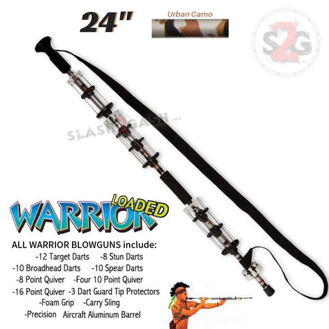 "Warrior 24"" Blowgun .40 cal LOADED w/ 40 Darts - Urban Camo - Avenger Blowguns USA"
