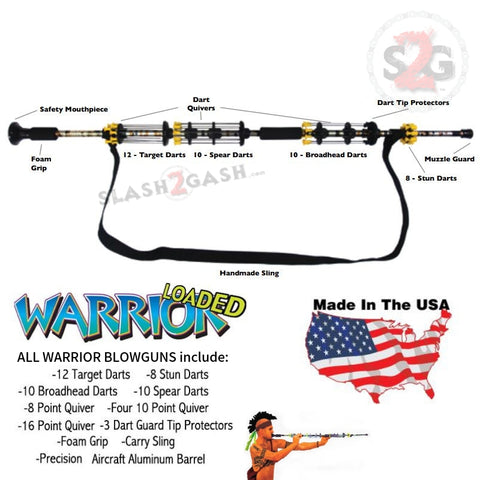 "Warrior Blowguns .40 cal LOADED w/ 40 Darts - Asstd. Colors 24 36 48 54"" Avenger USA"