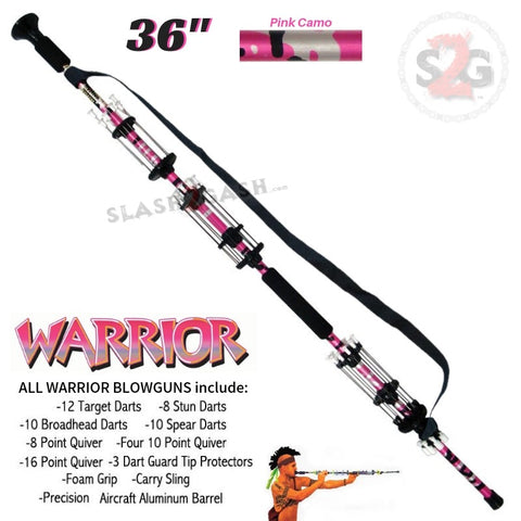 "Warrior 36"" Blowgun .40 cal LOADED w/ 40 Darts - Pink Camo - Avenger Blowguns USA"