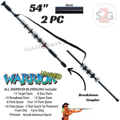 "Warrior 54"" Blowgun .40 cal LOADED w/ 40 Darts - 2PC Black - Avenger Blowguns USA"