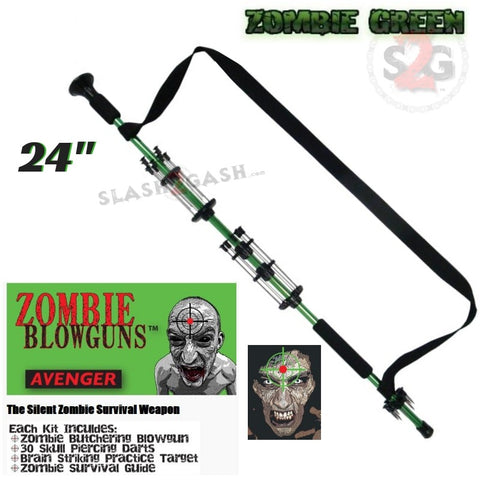 "Zombie 24"" Blowgun .40 cal LOADED w/ 30 Darts -  Zombie Green - Avenger Blowguns USA"