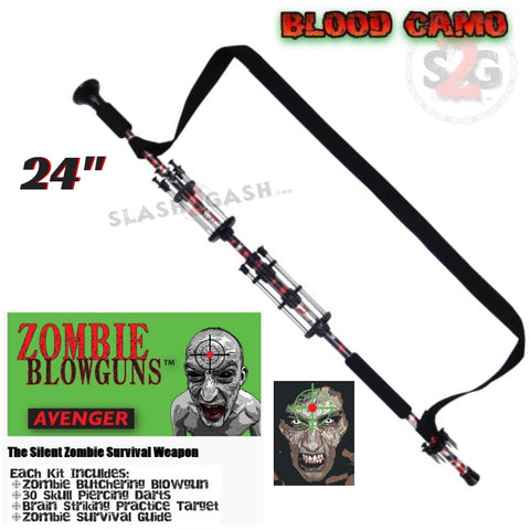 "Zombie 24"" Blowgun .40 cal LOADED w/ 30 Darts - Blood Red Camo - Avenger Blowguns USA"