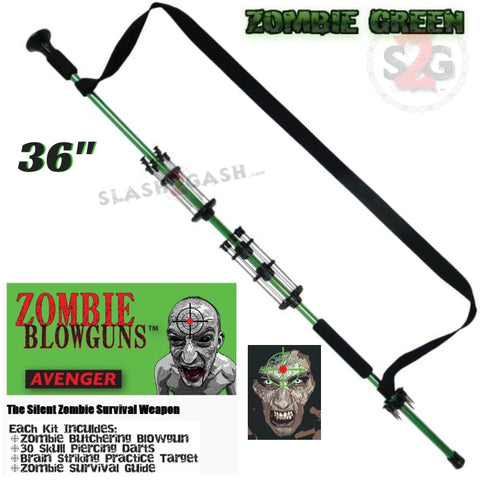 "Zombie 36"" Blowgun .40 cal LOADED w/ 30 Darts - Zombie Green - Avenger Blowguns USA"