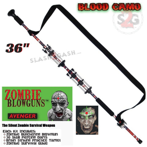 "Zombie 36"" Blowgun .40 cal LOADED w/ 30 Darts - Blood Red Camo - Avenger Blowguns USA"
