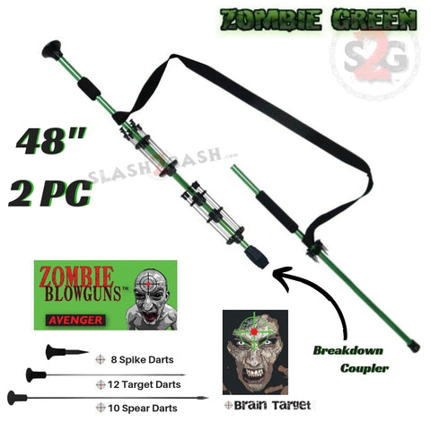 "Zombie 48"" Blowgun .40 cal LOADED w/ 30 Darts - 2PC Zombie Green - Avenger Blowguns USA"