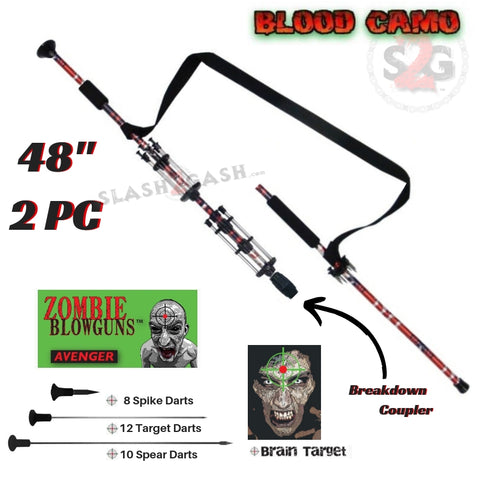"Zombie 48"" Blowgun .40 cal LOADED w/ 30 Darts - 2PC Blood Red Camo - Avenger Blowguns USA"