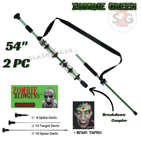 "Zombie 54"" Blowgun .40 cal LOADED w/ 30 Darts - 2PC Zombie Green - Avenger Blowguns USA"