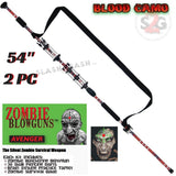 "Zombie Blowguns .40 cal LOADED w/ 30 Darts - Blood Red Camoflage 54"" inch 2PC - Avenger USA"