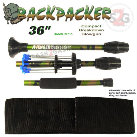 "Backpacker 36"" Blowguns .40 Caliber Breakdown w/ Nylon Case - 3PC Green Camouflage - Avenger Blowguns USA"