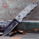 Boker Kalashnikov Automatic Conversion Knife Gun Metal Grey - AUS-8 Drop Point Serrated Switchblade AK47 AK74