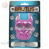 Brutus the Bulldog Self Defense Keychain ABS Knuckles - Purple Punchy Puppy