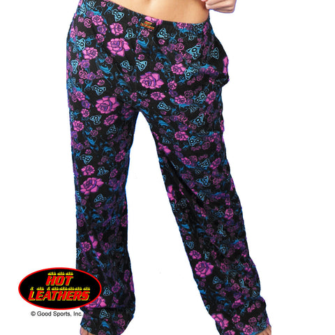 Hot Leathers Ladies Roses Lounge Pants Pajama Bottoms