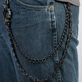 Hot Leathers Gunmetal Double Wallet Chain w/ Spikes and Skull 18""