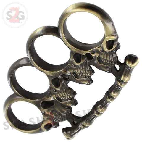 Head Trauma Skull & Bones Brass Knuckles Paperweight Antiqued Brass Heavy Duty Buckle