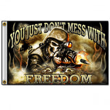 Hot Leathers Skull Soldier Freedom Flag 3 x 5 w/ Metal Grommets