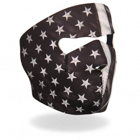 Hot Leathers Black and White Neoprene Face Mask Distressed American Flag