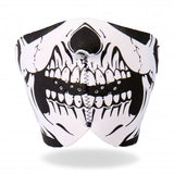Hot Leathers Neoprene Skull 1/2 Mask - Black and White Face Mask facemask
