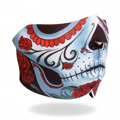 Hot Leathers Sugar Woman Calavera Neoprene 1/2 Face Mask w/ Roses facemask