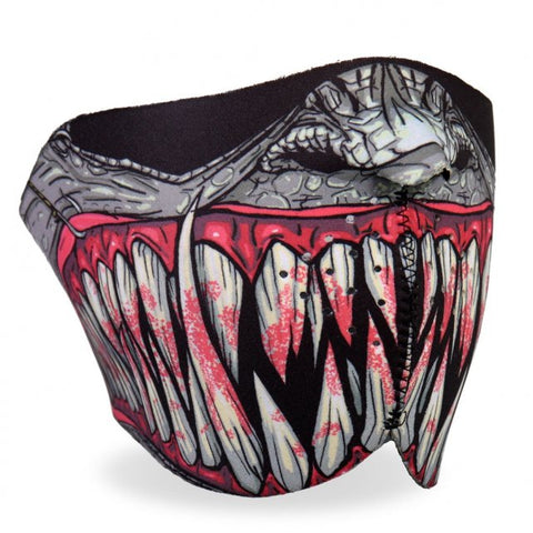 Hot Leathers Fang Face Neoprene 1/2 Face Mask Reptile Hooks & Fangs facemask