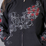 Hot Leathers Womens Hooded Sweatshirt with Live, Love, Ride and Roses