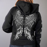 Hot Leathers Ornate Angel Wings Zip-Up Hooded Sweat Shirt