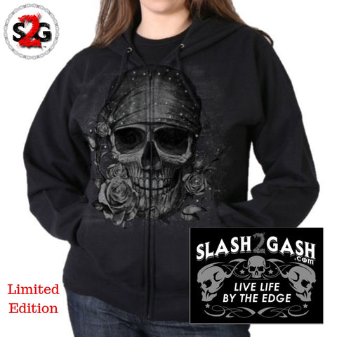 S2G Hot Leathers Bandana Skull Women's Sweatshirt Ladies Hoodie w/ Glitter Ink Slash2Gash