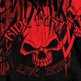 Hot Leathers Over The Top Red Tribal Skull T-Shirt Ride Fast Live Hard