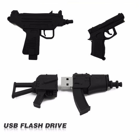 Machine Gun Shaped USB Flash Drive 2.0 Pistol, Rifle, AK, Uzi 16gb / 32gb