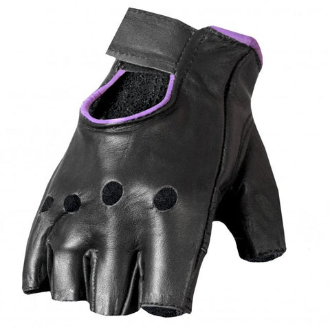 Hot Leathers Ladies Fingerless Gloves Purple Trim