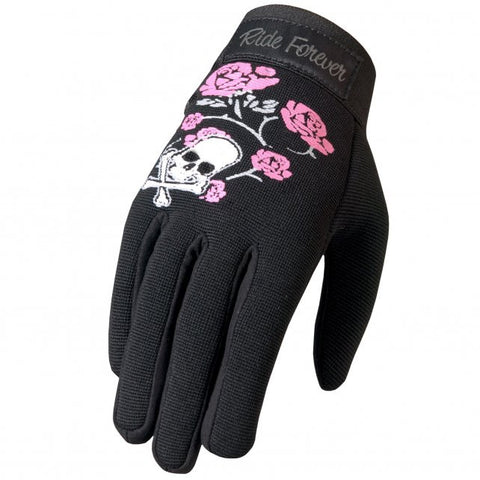 Hot Leathers Skull and Roses Ladies Mechanics Gloves