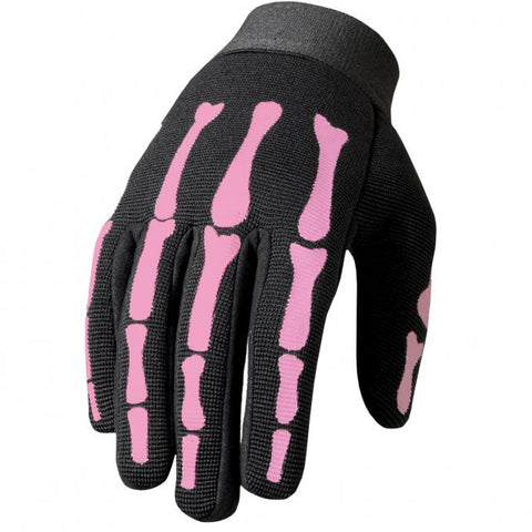 Hot Leathers Pink Skeleton Ladies Mechanics Gloves