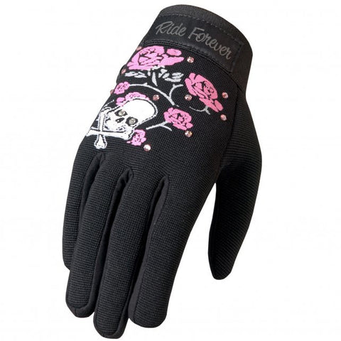 Hot Leathers Ladies Mechanics Gloves with Skull, Roses and Rhinestones