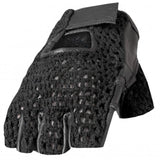 Hot Leathers Fingerless Black Leather Gloves w/Mesh